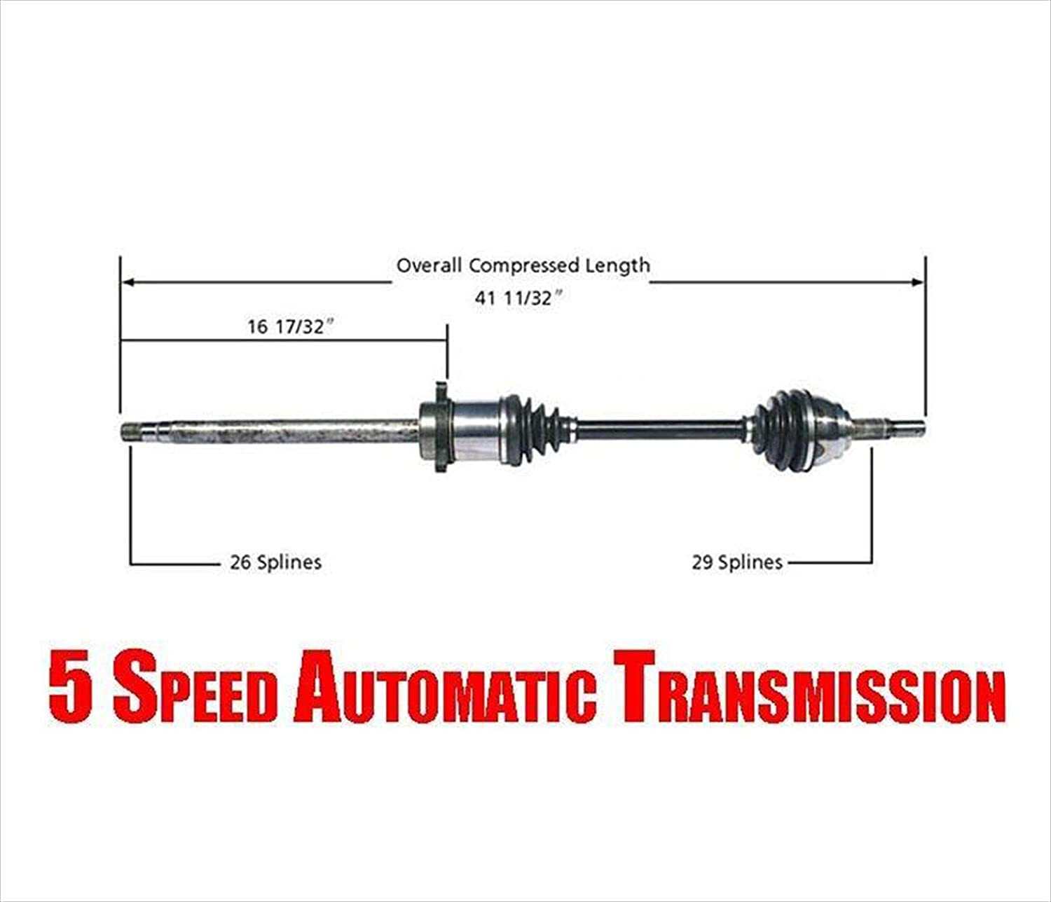 Fits 2004-2006 Nissan Quest w//5 Speed Transmission and 2007-2009 Nissan Quest Bodeman Front RIGHT CV Axle Drive Shaft Passenger Side