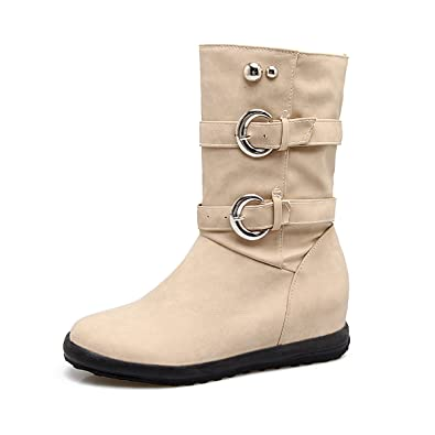 Women's Flat Mid Calf Boots Winter Fashion Round Toe Pull on Low Wedges Outdoor Snow Booties