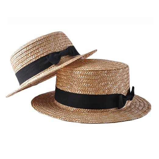 06d909391ef Mother Daughter Summer Boho Straw Sun Hat Panama Hat Bow Flat Wide Brim  Beach Matching Cap