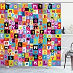 Ambesonne Abstract Shower Curtain, Colored Alphabet Letters Pattern Education School Puzzle Children Graphic Print, Cloth Fabric Bathroom Decor Set with Hooks