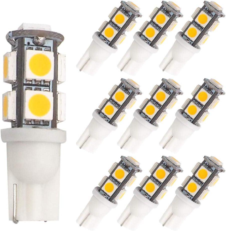 GRV T10 921 194 9-5050 SMD LED Bulb lamp High Bright Warm White DC 12V Pack of 10
