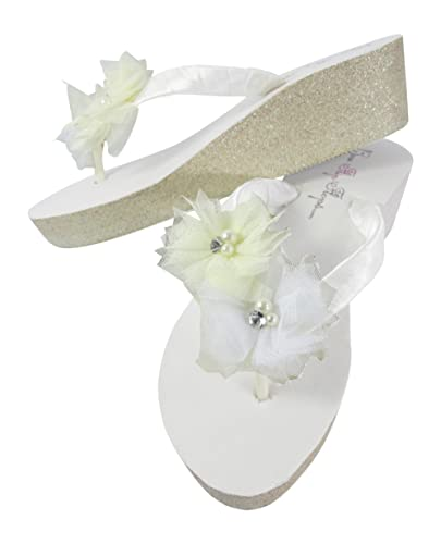 f6ce72d6f Amazon.com  White Bridal Flip Flops with Tulle Flowers on Glitter Wedges in  Champagne Silver or Gold  Handmade