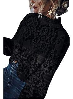 a56e2883d6c Asskdan Women s Mock Neck Long Sleeve Floral Mesh Lace Sheer Crochet Blouse  Top T-Shirt