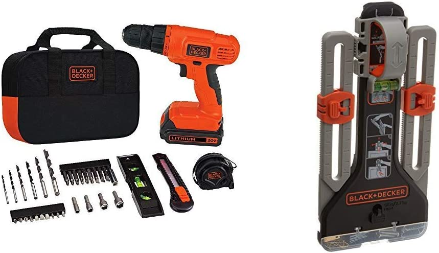 BLACK+DECKER 20V MAX Drill/Home Tool Kit with MarkIT Picture Hanging Tool Kit (BDCD120VA & BDMKIT101C)