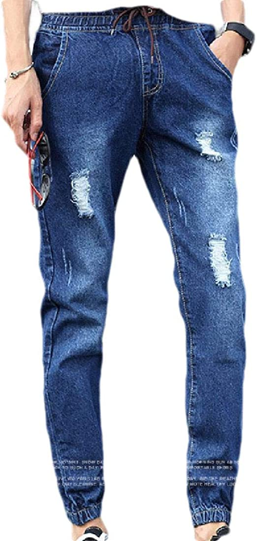 Beeatree Men's Casual Leisure Middle Waist Broken Hole Vogue Washed Denim Pants