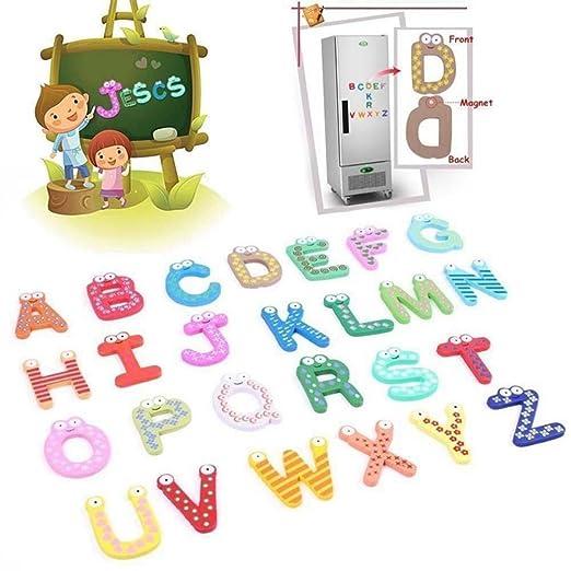 Kingko® - Imán de madera para nevera con 26 letras, diseño de ...