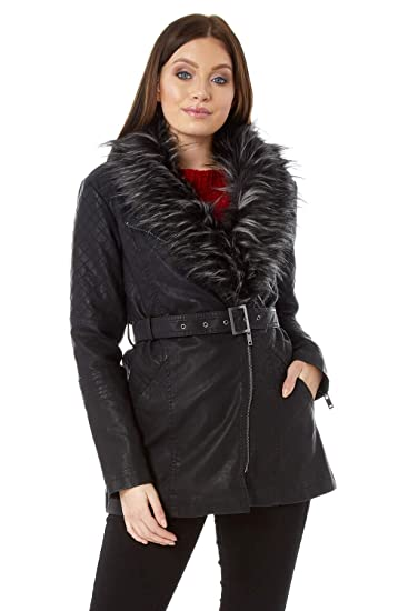 3d69d4b66227 Roman Originals Women Faux Leather Faux Fur Trim Coat - Ladies Everyday  Smart Casual Comfortable Quality Luxury Autumn Winter Zip Up Pleather Long  Sleeve ...