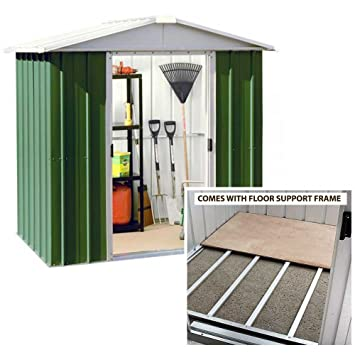 yardmaster 6x7 apex metal garden shed with steel floor support frame