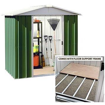 yardmaster 6x7 apex metal garden shed with steel floor support frame - Garden Sheds 6x7