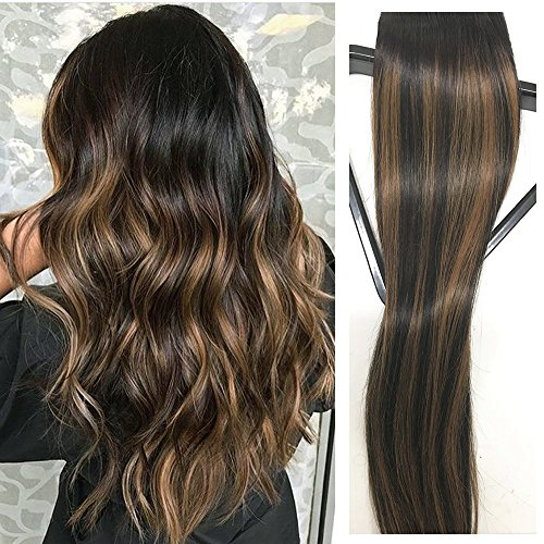 Amazon.com  Clip in Hair Extensions Human Hair 20 inch Black with Light  Brown highlights Dip Dyed Ombre Balayage 120g Full Head Straight Soft  Extension