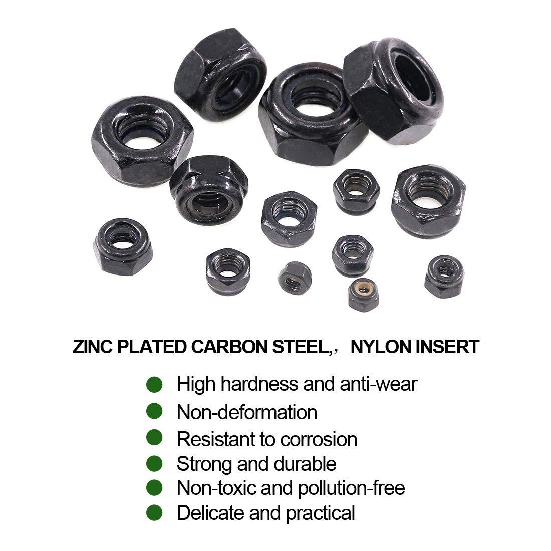 Keadic 185 Pieces Metric Black Zinc Plated Nylon Insert Lock Nuts Assortment Kit for Matching Screws or Bolts Sizes Include:M3 M4 M5 M6 M8 M10 M12