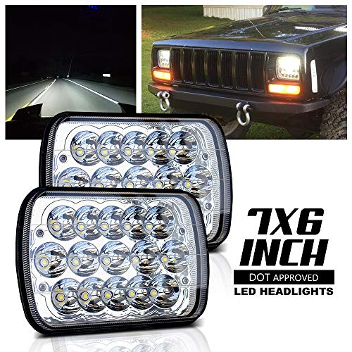 Gmc S15 Pickup Truck Headlight - DOT Rectangular 5x7 7x6 LED Headlights Hi/Lo Replace Hid Halogen Sealed Beam headlamp For H6054 Jeep Wrangler Grand Cherokee XJ YJ 4x4 Toyota Tacoma pickup Ford F250 E350 Chevy Corvette Dodge Ram