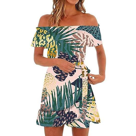 ba8b99c74acc kemilove Womens Hawaiian Dresses Off The Shoulder Floral Short Sleeve  Strapless Dress Green
