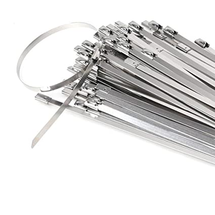 a5dd55eb35fb Image Unavailable. Image not available for. Color: HYCC 100pcs 11.8 Inches  304 Stainless Steel Cable Zip Ties Exhaust Wrap Coated Locking