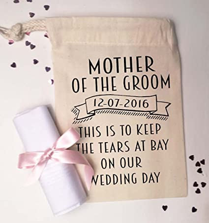 mother of the groom small gift bag and cotton handkerchief to keep