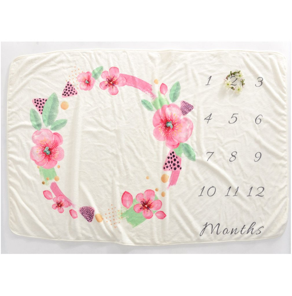 Soft Fleece Milestone Blanket Monthly Photo Prop for Baby Won't Wrinkle like Muslin Perfect for New Moms Large Size 60''x40'' (pink wreath)