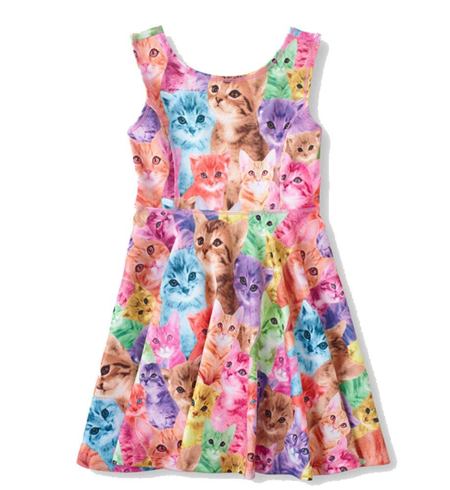 Little Girl's Cat Animal Printed Sleeveless Summer Travel Beach Pattern Dress