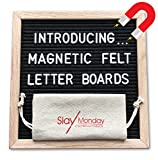 Magnetic Black Felt Letter Board with Magnet Frame, Prop Stand, and Hanging Wire by SlayMonday - 10 x 10 inch Natural Oak Frame with 525 Changeable Plastic Letters and Emojis, Plus Bag and Scissors