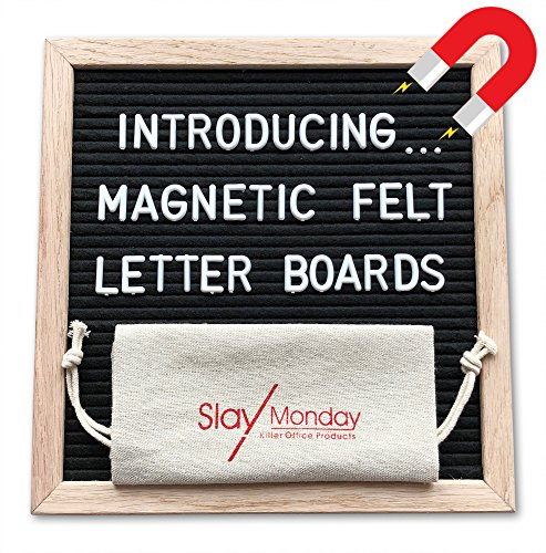 Magnetic Black Felt Letter Board with Magnet Frame, Prop Stand, and Hanging Wire by SlayMonday - 10 x 10 inch Natural Oak Frame with 525 Changeable Plastic Letters and Emojis, Plus Bag and Scissors by SlayMonday