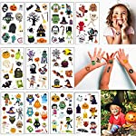 Halloween Temporary Tattoos,11 Sheets Assorted Styles Party Supplies Pumpkin Bats Witch Monster Tattoos,Great Halloween Party Accessory for Kids Children Men Women