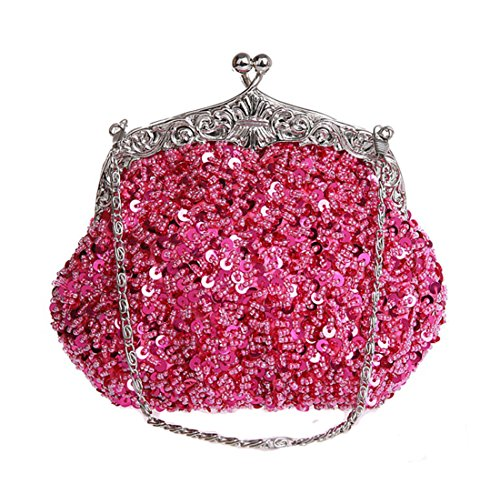 Whoinshop da donna in metallo, con perline e lustrini Evening Clutch Bag (rosa)