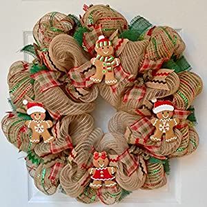 Gingerbread Men Cookies Christmas Wreath Handmade Deco Mesh 71
