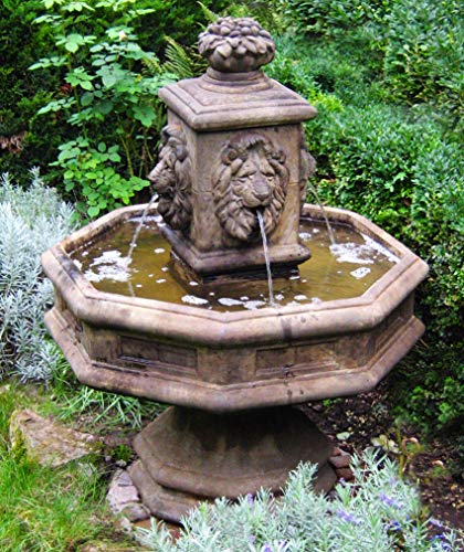 Henri Studios Fountains - Henri Studio 5 Piece Classic Lion Fountain, Relic Lava