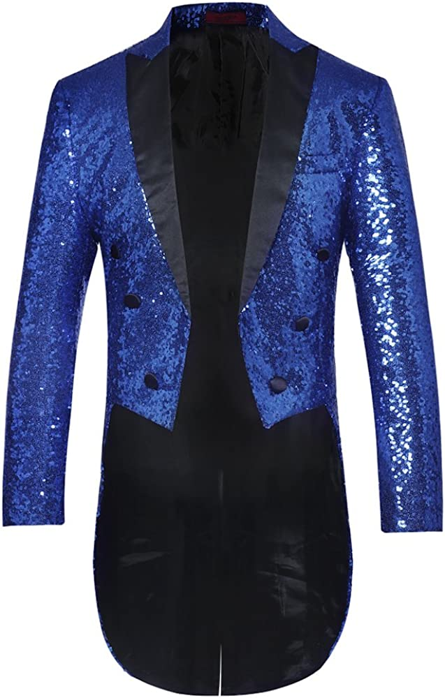 Mens Tails Slim Fit Tailcoat Sequin Dress Coat Swallowtail Dinner Party Wedding Blazer Suit Jacket