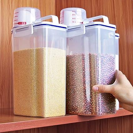 2kg Recipiente De Almacenamiento De Arroz Rice Box 2//3//4 Piezas Cubos De Almacenaje con Taza Medidora Dispensador De Arroz Resistente A La Humedad para Cereales Haba De Soja,2pcs