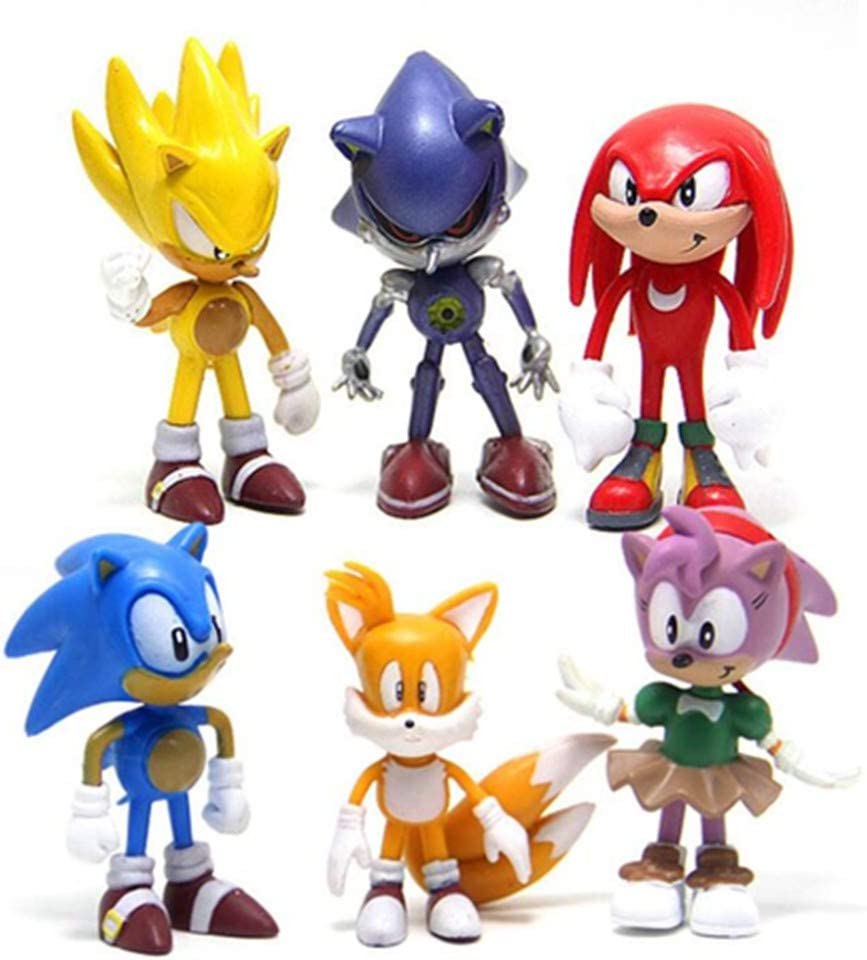"""sonic 6pcs Action Figures Cake Toppers Cute Toys Cupcake Topper, Cake Toppers, Cake Decoration, 2""""-2.8"""""""