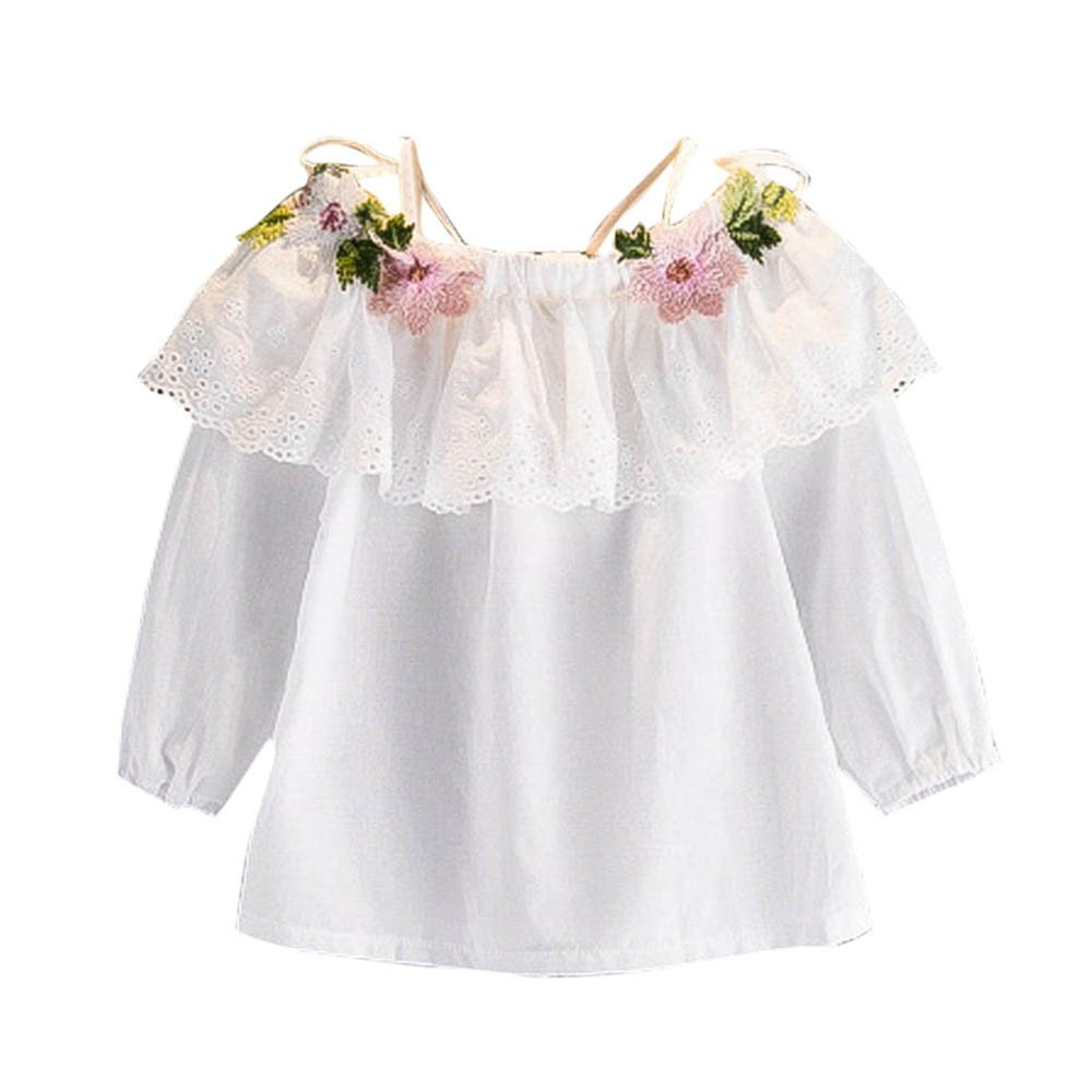 Brydon For 2-8 Years Girls Girls Outfit Clothes Floral Embroidery Strapless T-Shirt Tops TX-528