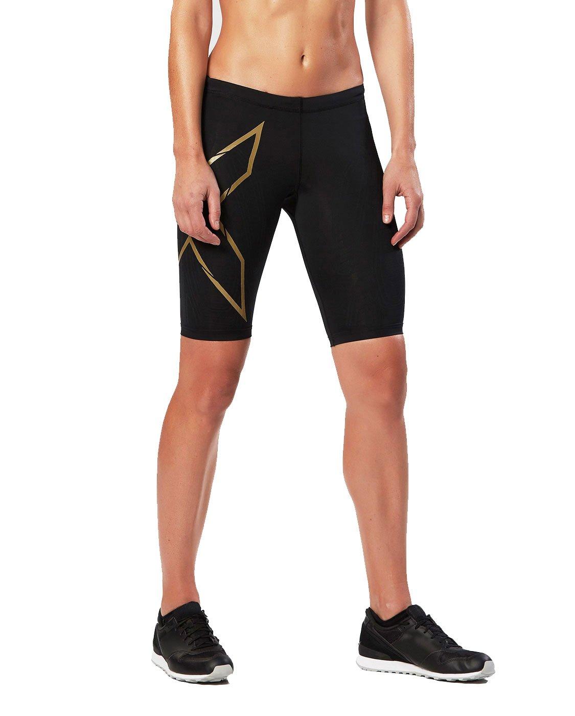 2XU Women's Elite MCS Compression Shorts, Black/Gold, X-Small