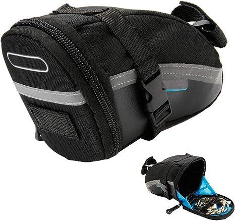ALBEFY - Bolsa para sillín de bicicleta, 1,2 L, bolsa de almacenamiento con cremallera, herramientas de reparación de bicicletas de montaña, carretera, montaña ...