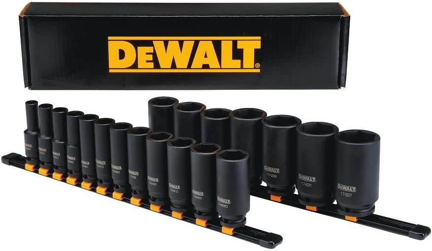 DWMT19239 19-Piece 1//2 Drive SAE DEWALT Deep Impact Socket Set