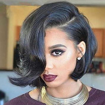 Amazon Com Weite Women Girls Black Wig Side Part Short Bob