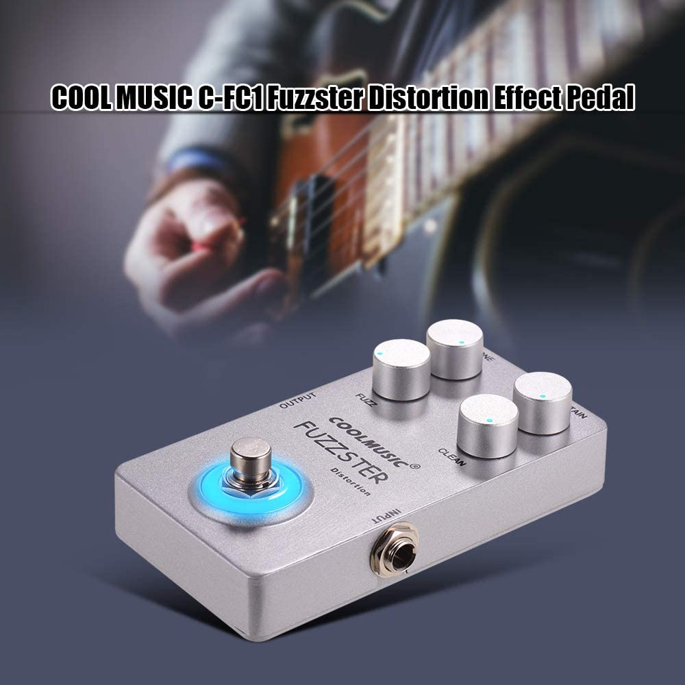 Muslady COOLMUSIC Fuzzster Distorsi/ón Pedal de Efecto de Guitarra Bajo Fuzz Pedal para Guitarras El/éctricas Alluminum Alloy Shell Plata