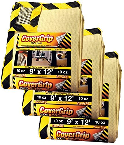 CoverGrip 091210 Heavy Duty Safe Zone 10 Oz Canvas SAFETY Drop Cloth, 9' x 12', (Pack Of 3),