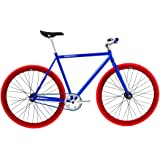 FabricBike- Vélo Fixie Bleu, Fixed Gear, Single Speed, Cadre Hi-Ten Acier, 10Kg