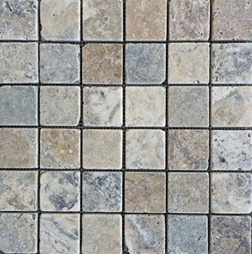 Antique Onyx 2x2 Tumbled Travertine Mosaic Aged Look, Flooring, Backsplash, -