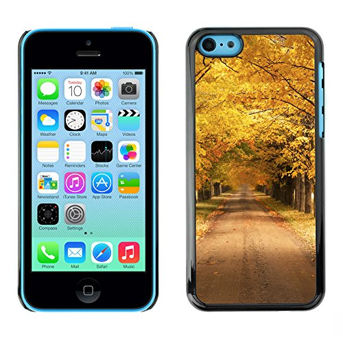 Premio Sottile Slim Cassa Custodia Case Cover Shell // V00001780 Autumn road // Apple iPhone 5C