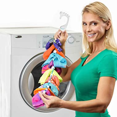 SockDock 2 Pack Sock Laundry Helper & Storage Hangers, Closet Organizer, Easy Clips & Locks Paired Socks Without a Tie, Mesh Bag, Bin, Basket, Drawer, Divider or Container, Home or Travel (Red)