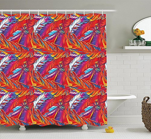 [Parrots Decor Collection Exotic Feather Fashionable Carnival Festive Season Vacation Traveling Boho Style Art Polyester Fabric Bathroom Shower Curtain Set with Hooks Magenta] (Parrot Costume Ebay)