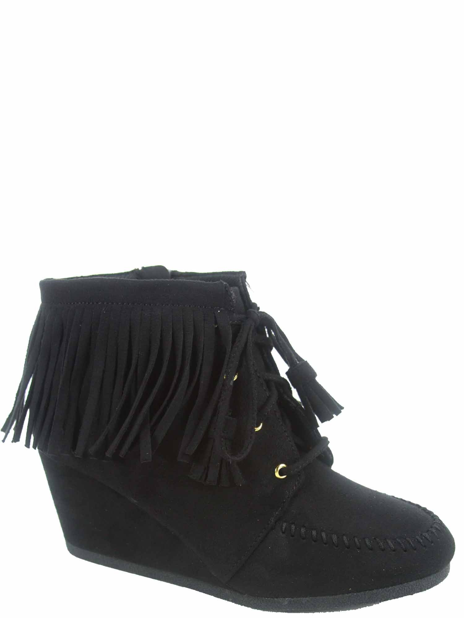 Cityclassfied Wig-s Women's Cute Low Wedge Lace up Zipper Fringe Oxford Booties Shoes (9 B(M) US, Black)