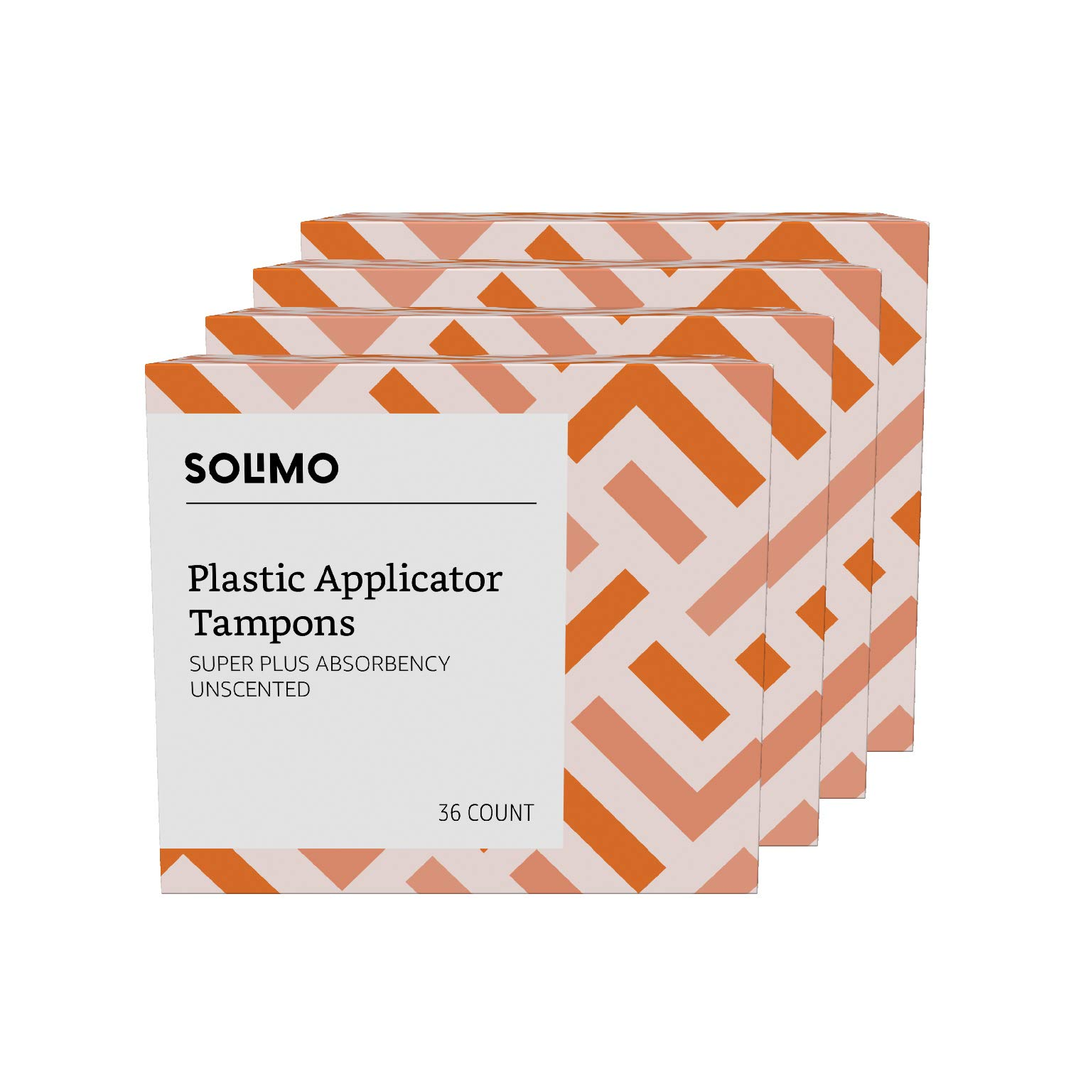 Amazon Brand - Solimo Plastic Applicator Tampons, Super Plus Absorbency, Unscented, 144 Count