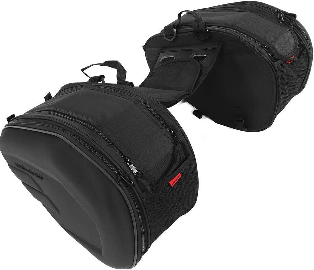 1 par de Bolsas de Motocicleta 2 Unidades de Bolsa de sillín de Moto de Tela Oxford Impermeable Bolsa Lateral Semi rígida Negra Desmontable: 470 x 295 x 230 mm