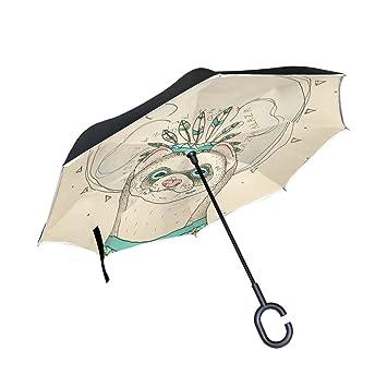 BENNIGIRY Paraguas Inverso Plegable Inverso de Doble Capa Invertido Indio Sloth Protección UV Gran Paraguas Recto