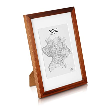 Solid Wood A4 Photo Frame Rustic Brown - Picture Frame with Mount for 6x8