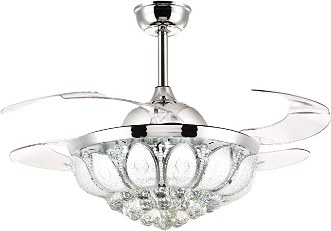 Amazon Com Siljoy 42 Inch Dimmable Crystal Ceiling Fan With Lights And Remote Retractable Blades Invisible Chandelier Ceiling Fan Dimmable Led Light Chrome Kitchen Dining