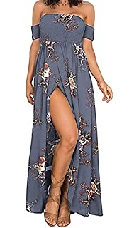 2413ad275f9 Summer Beach Maxi Dresses for Women Off The Shoulder Floral Boho Sundresses