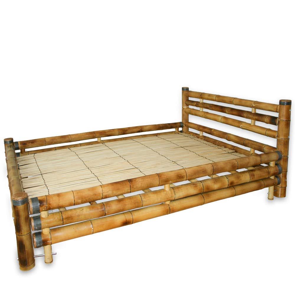 Homestyle4u 879, Bambusbett 140x200 cm, Bettgestell mit Lattenrost, Bambus Braun